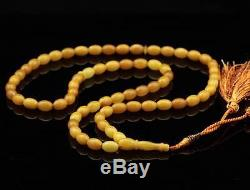 Islamic 66 Prayer Egg Yolk OLIVE Baltic amber beads rosary