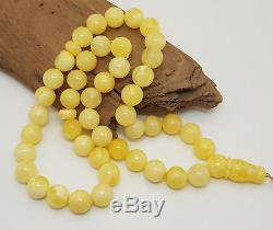 Islamic Prayer Tasbih Amber Natural Baltic 45 Bead 37,1g White Vintage Old X-021