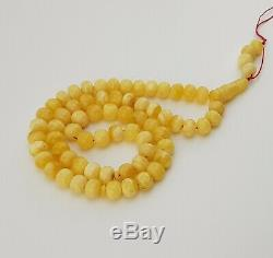 Islamic Prayer Tasbih Amber Natural Baltic 66 Bead 39,1g White Vintage Old M-013