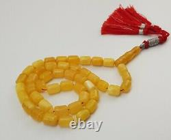 Islamic Prayer Tasbih Amber Natural Baltic Vintage Bead 33,1g Old White E-278