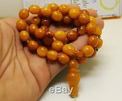 Islamic Prayer Tasbih Olive Natural Amber Baltic Bead Old 37,5g Vintage M-002