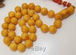 Islamic Prayer Tasbih PRESSED Amber Natural Baltic 33 Bead White 39,5g Old F-327