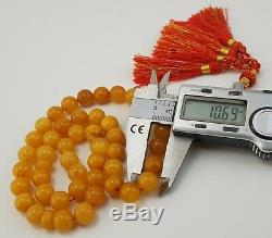 Islamic Prayer Tasbih White Amber Natural Baltic Vintage Bead 36,9g Old A-238