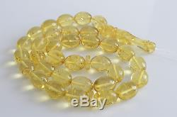 Lemon With Shell Color Baltic Amber Misbaha Prayer Beads Olives Beads 89g Solid
