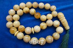 MUSEUM QUALITY Huge antique genuine Baltic amber prayer 33 beads 625 grams