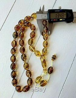 Natural Baltic Amber 68gr Islamic Prayer Rosary Pressed Olive Bead Tesbih Misbah