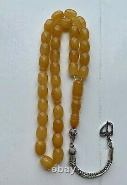 Natural Baltic Amber Antique Islamic Prayer Rosary 25g. Egg Yolk 33 Beads Misbah