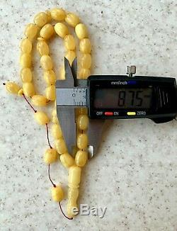 Natural Baltic Amber Islamic Prayer Rosary 22gr. Egg Yolk Beads Tesbih Misbah