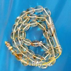 Natural Baltic Amber Islamic Prayer Rosary Barrel Beads 19g with inclusions