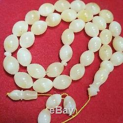 Natural Baltic Amber Rosary Islamic Prayer 33 Beads Olive 67g