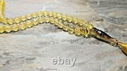 Natural baltic amber 35,8 g ISLAMIC 66 PRAYER BEADS ROSARY. Inclusion Insect