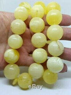 Natural baltic amber ISLAMIC 33 PRAYER BEADS ROSARY Yellow Butter Marble 143gr