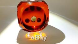 (Nita-Run) Antique Old amber Bakelite Dice Rod Orange Yellow Faturan 181 gr