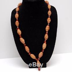 OLD CHINESE Hedaio + Amber Carved Prayer Bead Necklace 18 Lohan Arhat Immortals