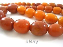 Old Baltic Butterscotch Egg Yolk Amber 44 Beads 30 Strand Necklace Prayer 112gm