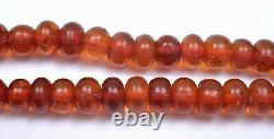 Old Chinese Natural Cognac Honey Amber Carved Carving Prayer 108 Beads Necklace