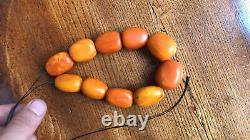 Old Natural Baltic Yolk Amber Beads Honey Ottoman Old Necklace Prayer 117 Grams