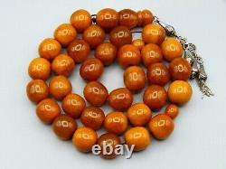 Old Real Antique Natural Amber Stone Necklace / Chain / Prayer Beads 1 Life Item
