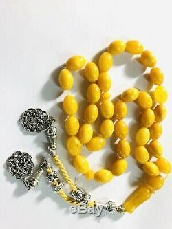 Old Yellow Baltic Amber Tasbih, 100% Natural Made From One Stone #SPO22