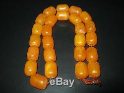 Old Yellow Orange Butterscotch Amber Bakelite 25 Prayer Beads Necklace