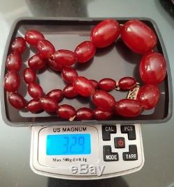On Sale! Amazing Cherry Amber Bakelite Faturan Bead Necklace33 Grtested