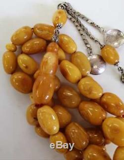 One Stone Original Antique Germany Rocky Amber 33 Islamic Prayer Beads Rosary
