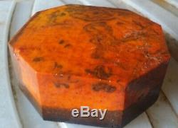Orig. German Antique Old amber Bakelite / Catalin Block Veined marble 650 Gramm