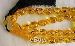 Prayer Beads Gebetskette Oval Amber Colored Resin With Insects in each Bead