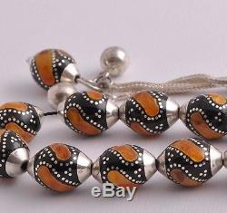 Prayer Beads-Worry Beads-Black coral, silver, amber inlay