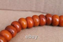 Rare Antique Old Amber Necklace Rosary Natural BUTTERSCOTCH
