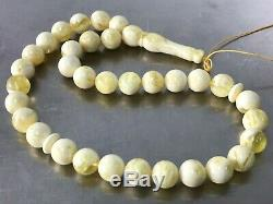 Royal White Islamic 33 Prayer Beads Baltic Amber Formed Pressed Tasbih 31g #4567