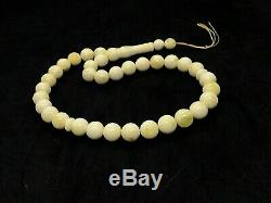 Royal White Islamic 33 Prayer Beads Natural Baltic Amber Formed Pressed 45g#4563