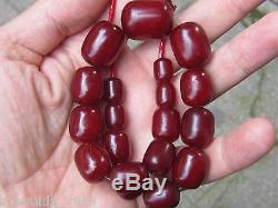 VERY OLD CHERRY AMBER FATURAN NECKLACE OSMANLI SIKMA KEHRIBAR 59gr