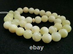 VINTAGE BALTIC AMBER WHITE COLOR ROUND 9 mm BEAD ISLAMIC ROSARY 33 Beads