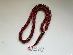 VINTAGE RED CHERRY AMBER BAKELITE FATURAN BEADS PRAYER BEADS 33 + IMAM 49gr