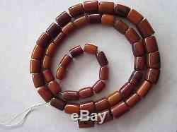 VTG CHERRY BUTTERSCOTCH AMBER BAKELITE BARREL SHAPED BEADS FATURAN 86.1 grams