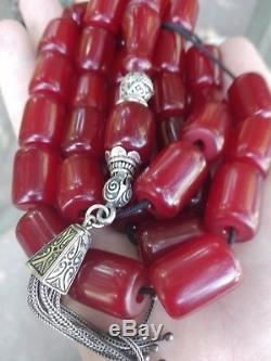 Vintage Cherry Amber Bakelite Faturan 33+1 Beads Prayer/Necklace 115.1 Gram