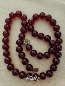 Vintage Cherry Amber Bakelite Necklace Round Prayer Beads Tested