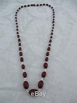 Vintage Cherry Amber Marble Bakelite Faturan Bead & Pearl Necklace