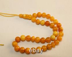 Vintage Genuine Amber Baltic Rosary Islamic 33 Prayer Beads 6mm 5Gr