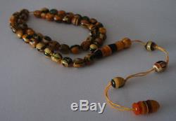 Vintage Genuine Baltic Amber Islamic Prayer Olive Beads Rosary Art Work