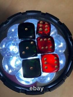 Vintage Lot of 6 Small Cherry Amber and Dark Green Bakelite Dice 50 Grams Total