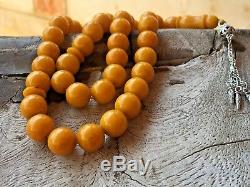 Vintage Old German Faturan Stone Rosary AMBER BAKELITE Prayer Beads Islamic 38GR
