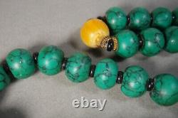 Vintage Turquoise Amber Color Stone Chinese Prayer Bead / Necklace