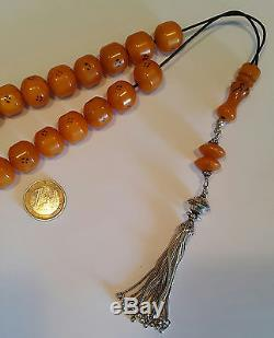 Vintage Worry Beads Komboloi Amber Colour Bakelite with Sterling Silver Tassel
