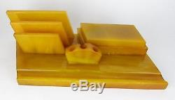 Vintage butterscotch amber BAKELITE MARBLE CATALIN Inkwell, Desk set, 1714 gr