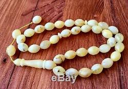 White Baltic Amber INCLUSION 20g Islamic Prayer Rosary Olive Beads Tesbih Misbah
