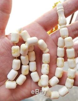 White Baltic Amber Tasbih, 100% Natural Made From One Stone, Refno nI90