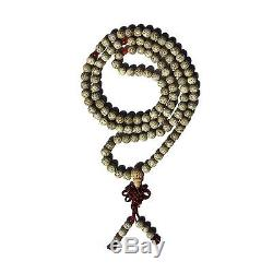 White Bodhi Mala With Amber Agate Accents-Tibetan Buddhism Traditional 108 Count