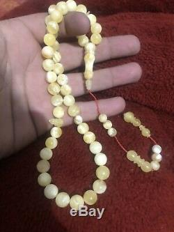 Yellow White Baltic Amber Tasbih, 100% Natural Made From One Stone